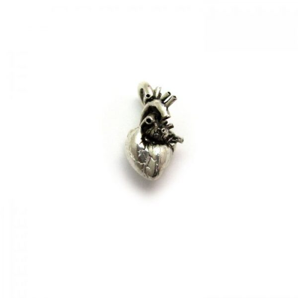 anatomical heart silver plated