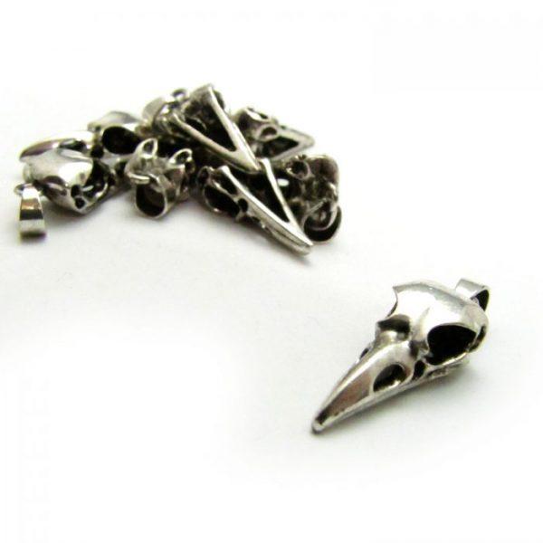 bird skull small silver