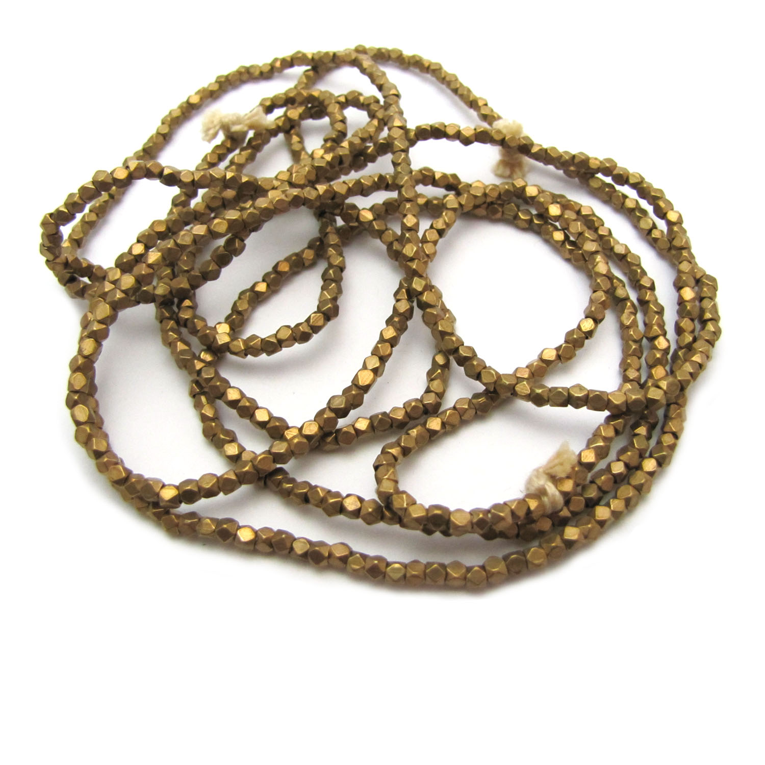 brass faceted nugget beads - brass