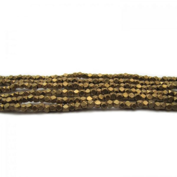 brass faceted nugget beads - brass strands