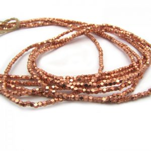 brass faceted nugget beads - copper plated