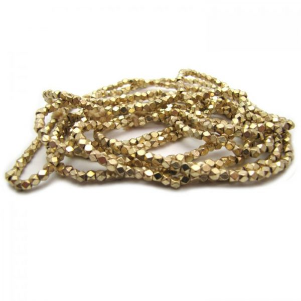brass faceted nugget beads - gold plated