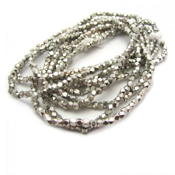 brass faceted nugget beads - silver plated