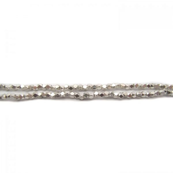 brass faceted nugget beads - silver plated strand
