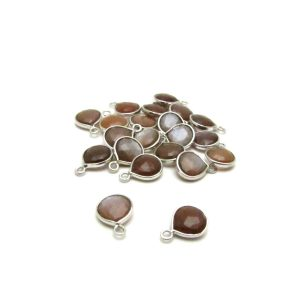 chocolate Moonstone silver edged drop