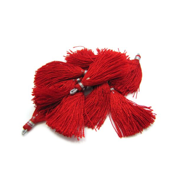 small silk tassels with silver loop – red