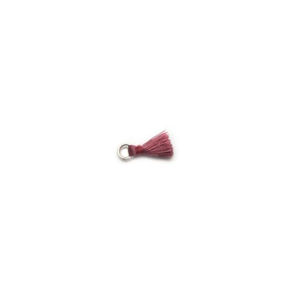 2cm silk tassel with silver jump ring – dusty rose