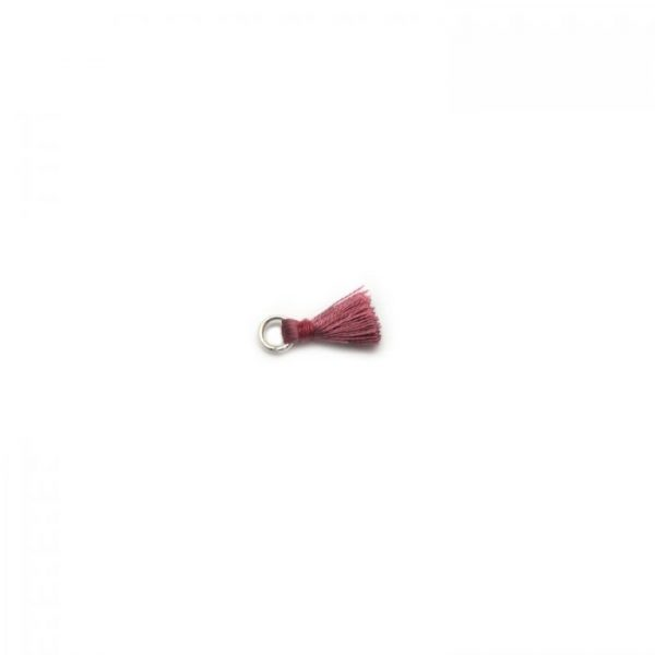 2cm silk tassel with silver jump ring - dusty rose