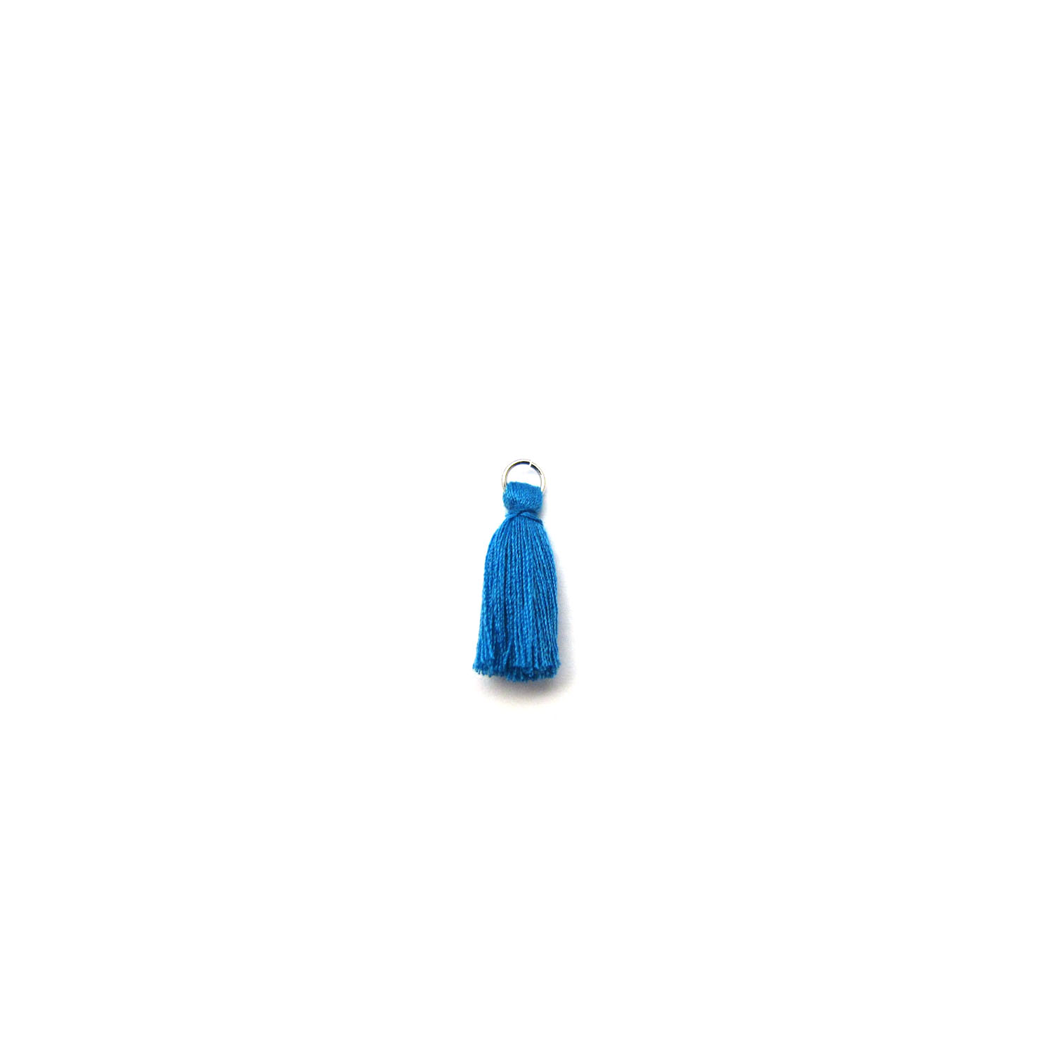 3cm cotton tassel with base metal silver jump ring - capri blue