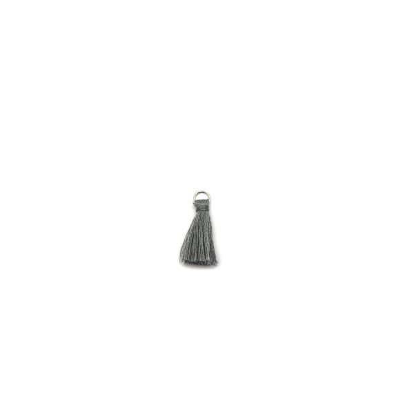 3cm cotton tassel with base metal silver jump ring – grey