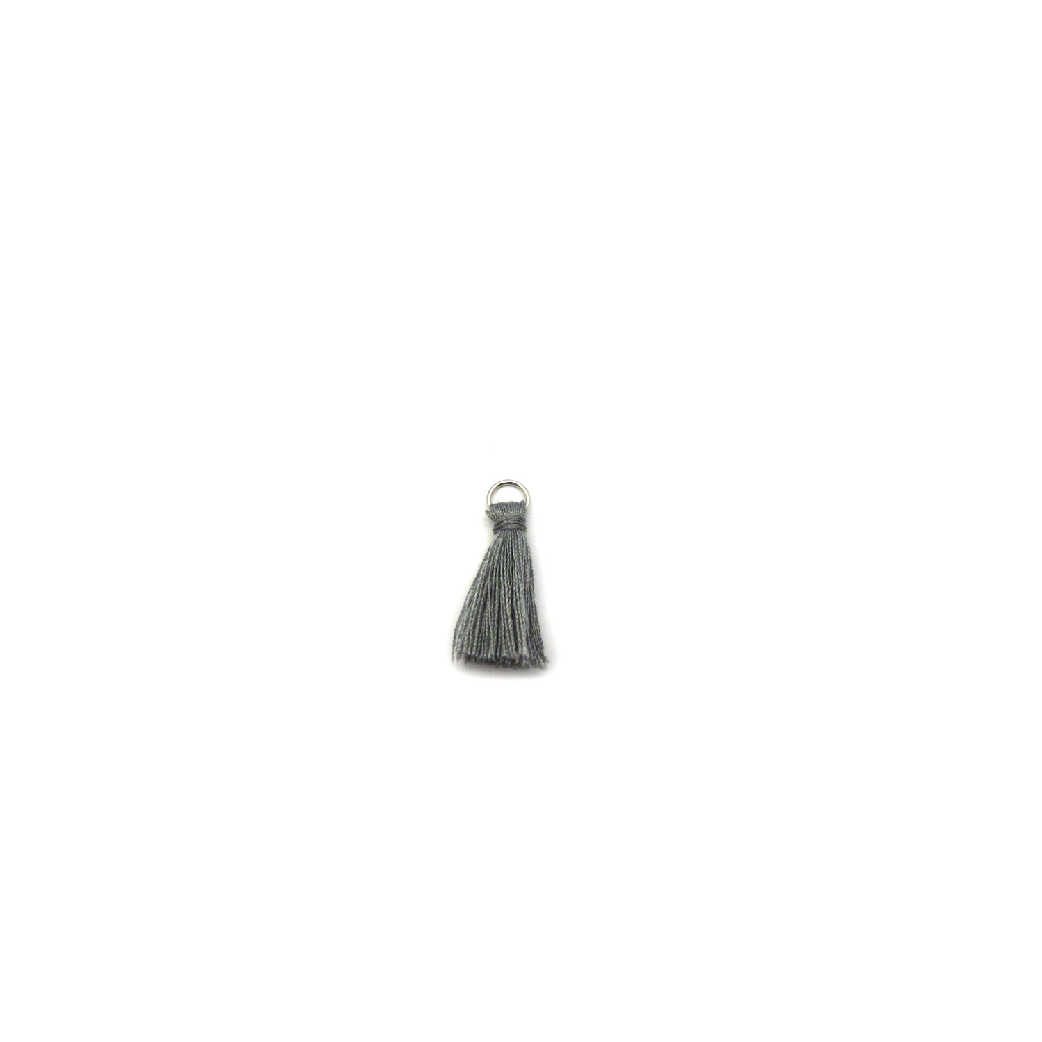 3cm cotton tassel with base metal silver jump ring - grey