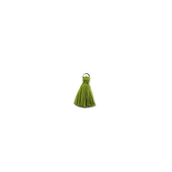 3cm cotton tassel with base metal silver jump ring – olive
