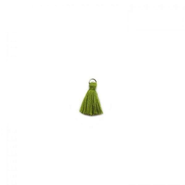 3cm cotton tassel with base metal silver jump ring - olive