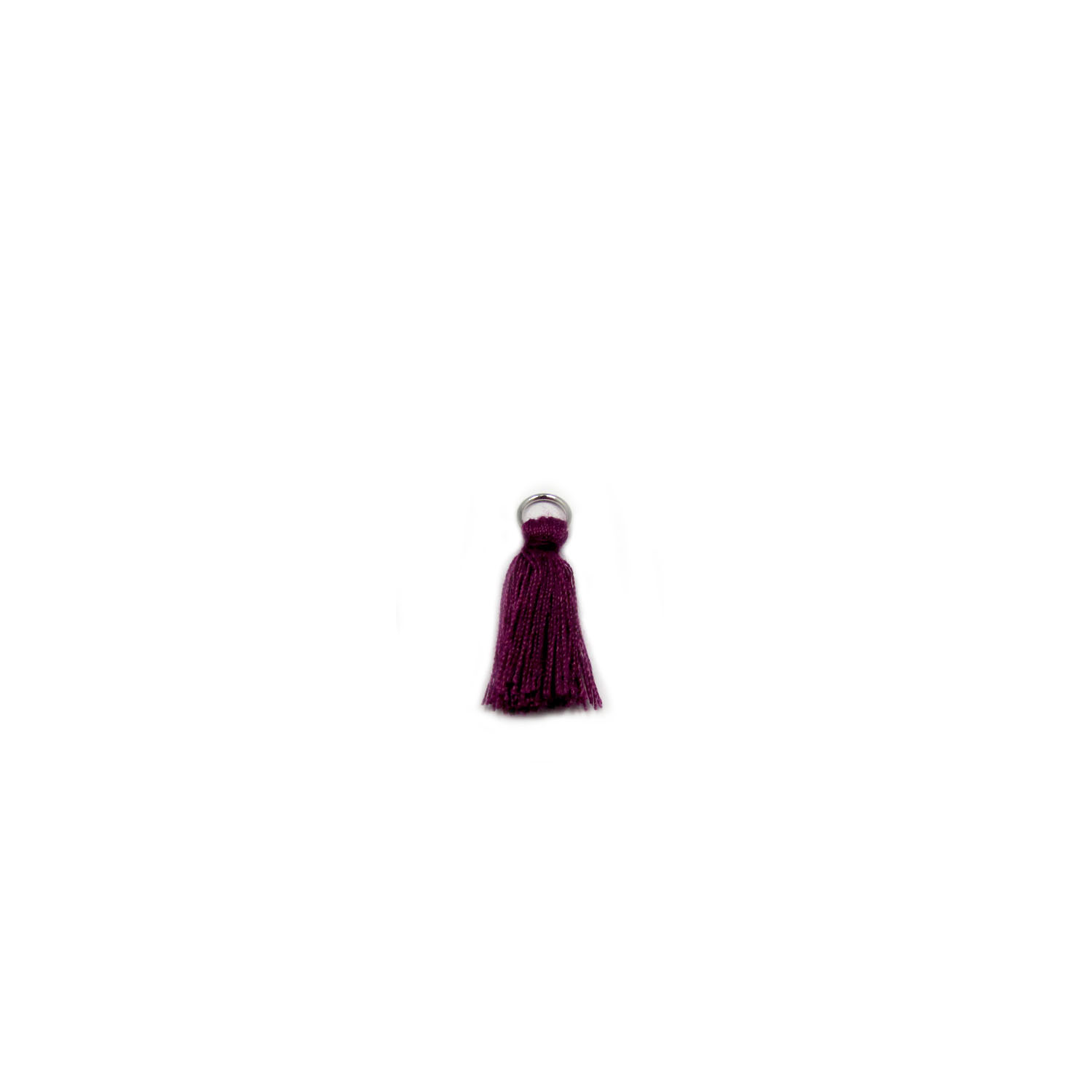 3cm cotton tassel with base metal silver jump ring - purple