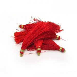 4.5cm Silk Tassels With Gold Loop - Red