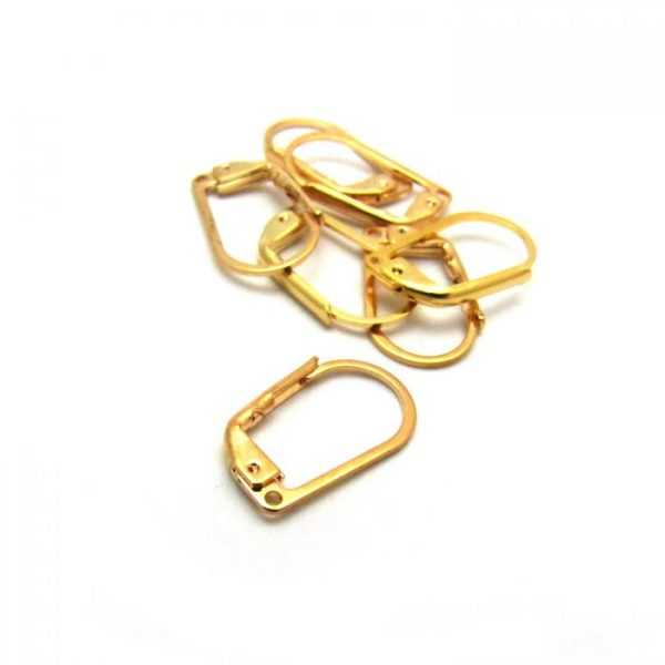 Base metal gold plated leverbacks