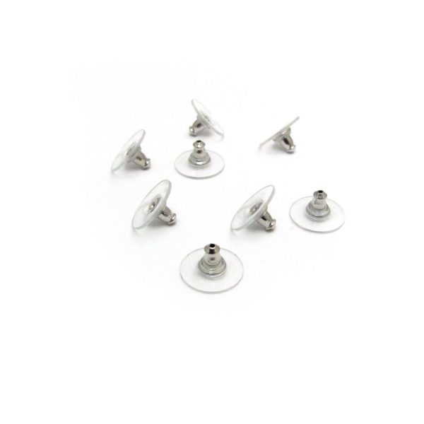 Bullet earring backs with plastic disc – Silver