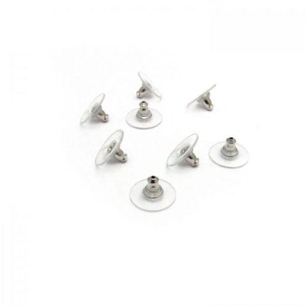 Bullet earring backs with plastic disc - Silver