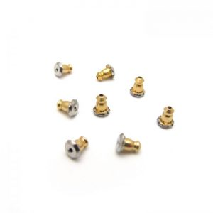 base metal bullet earring backs - gold and silver