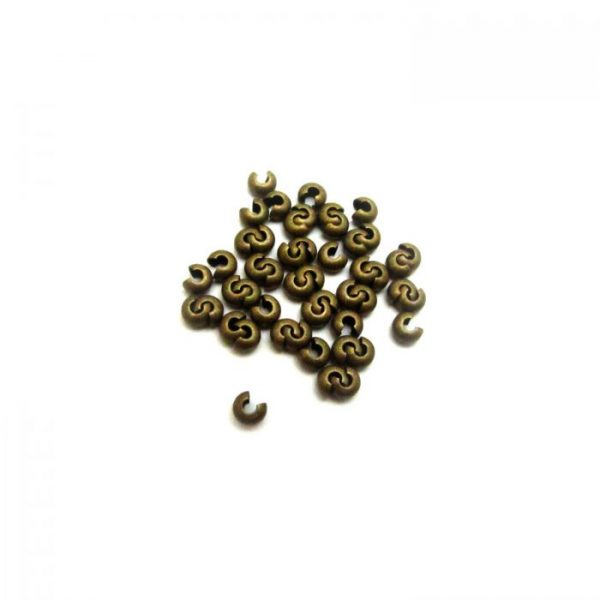 crimp covers - antique gold plated