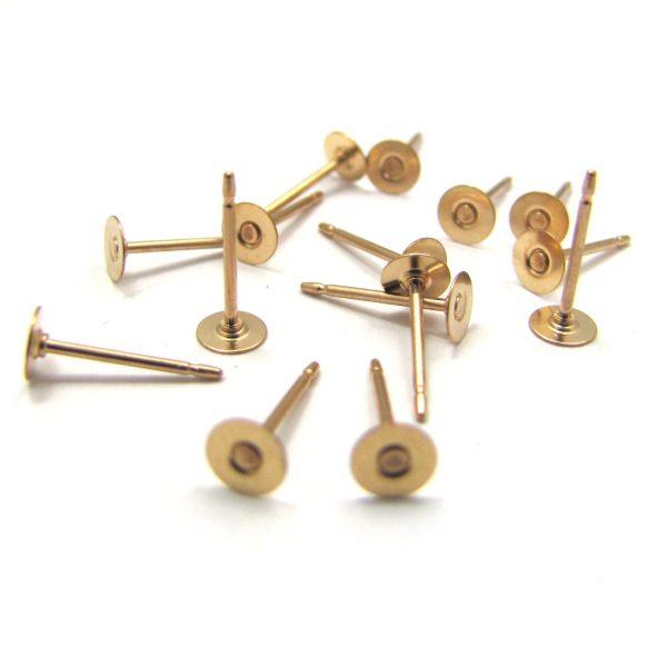 flat studs gold fill 4mm
