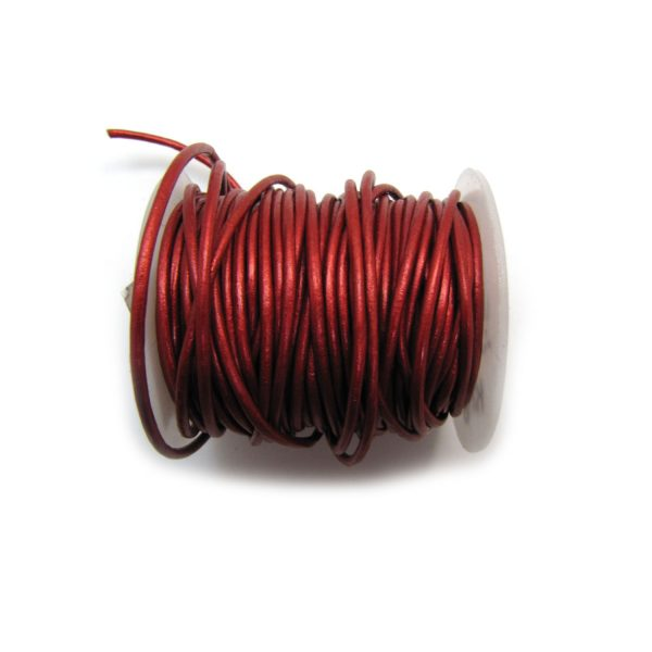 red metallic leather