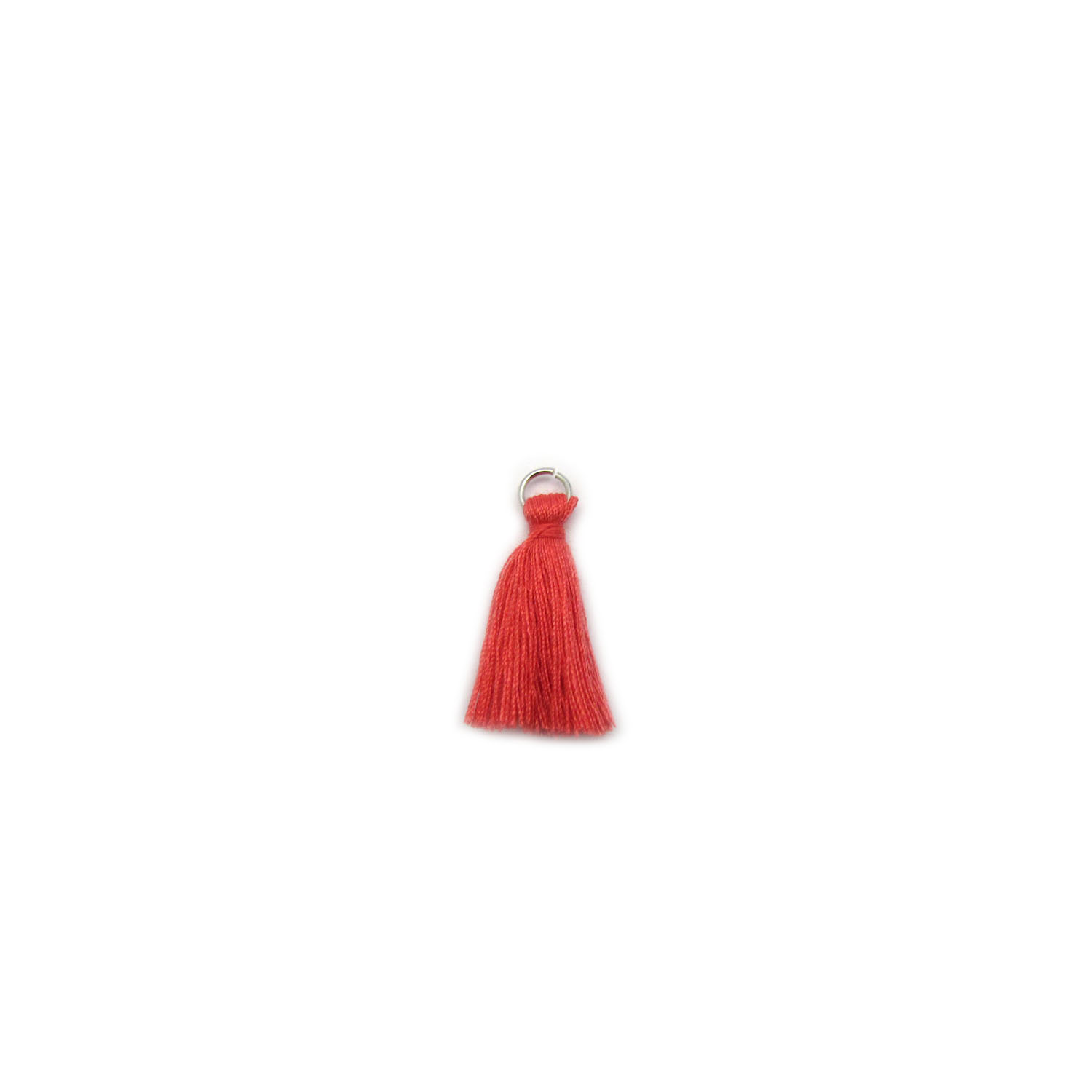 3cm cotton tassel with base metal silver jump ring - coral