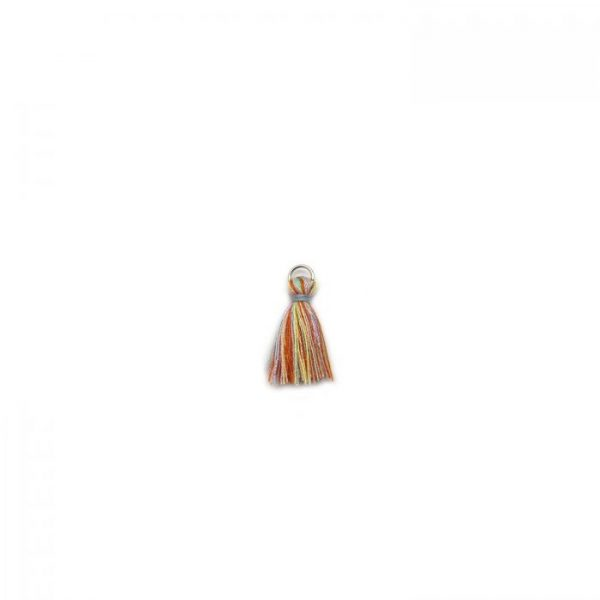 3cm cotton tassel with base metal silver jump ring - multie colour