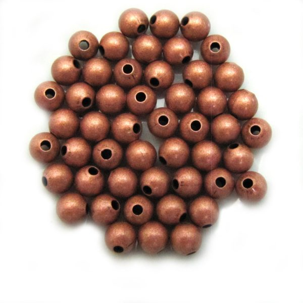 base metal smooth round 6mm copper colour
