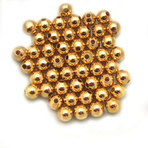 base metal smooth round gold colour beads