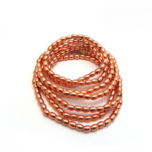 Barrel Metal Beads - Copper Plated