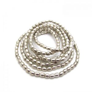 Barrel Metal Beads - Silver Plated