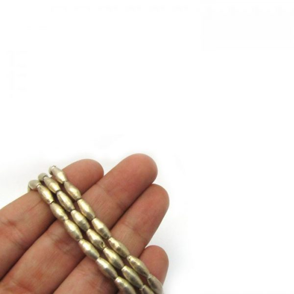 Rice African Metal Beads - Silver
