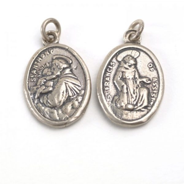 Sterling Silver St Anthony and St Francis Medallion