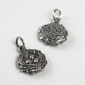 Bird's Nest Charm - Sterling Silver