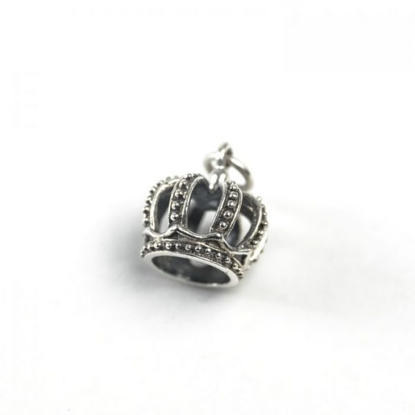 sterling silver 3D crown charm