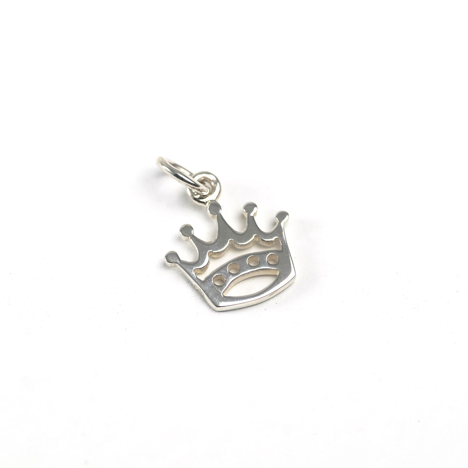 sterling silver outlined crown charm