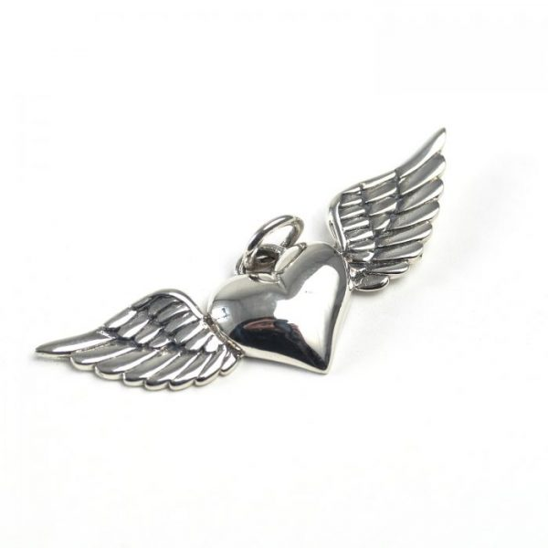 sterling silver heart with wings charm