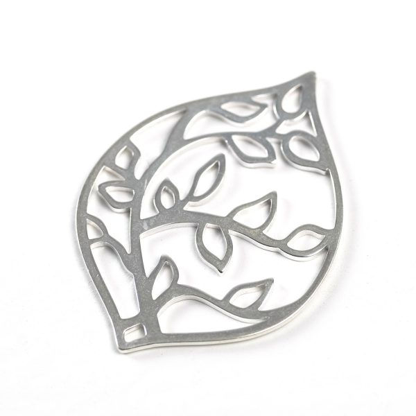 Sterling Silver Teardrop with Leaves