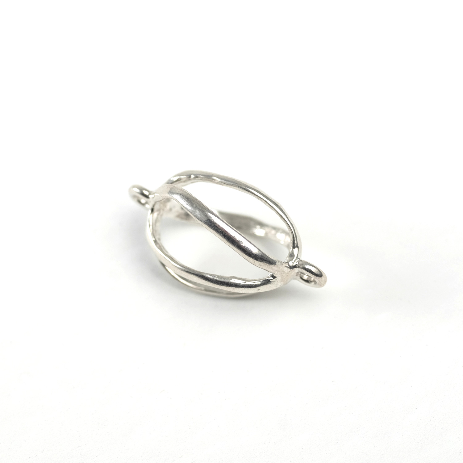 Sterling Silver 3D Cage Link