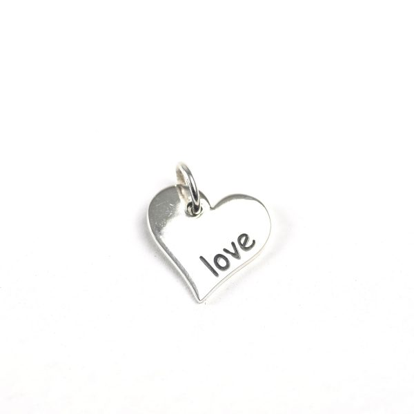 "sterling silver ""love"" heart charm"