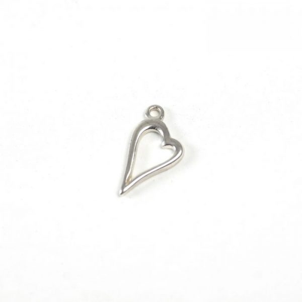 Sterling Silver Outlined Elongated Heart Charm
