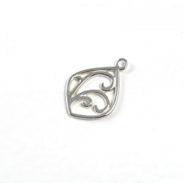 Sterling Silver Outlined Tidal Wave Drop