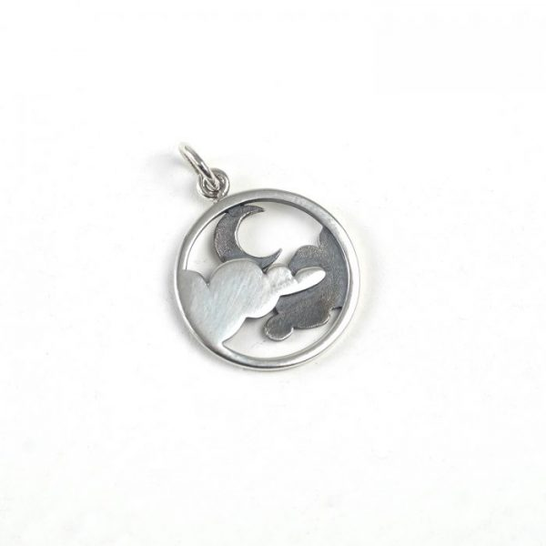 Sterling Silver Moon and Clouds in Circle