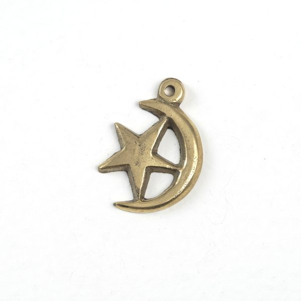 Moon with Star (large, brass)