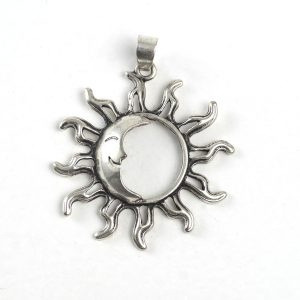 Sun with Moon (large, silver color)