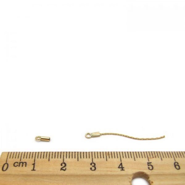 gold fill thread chain ends with ruler