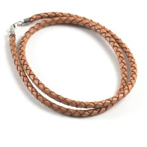 4mm Braided Leather Pre-Made Necklace - Natural