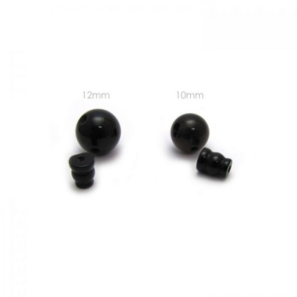 onyx - 3 hole guru bead and cap sets showing 12mm and 10mm size