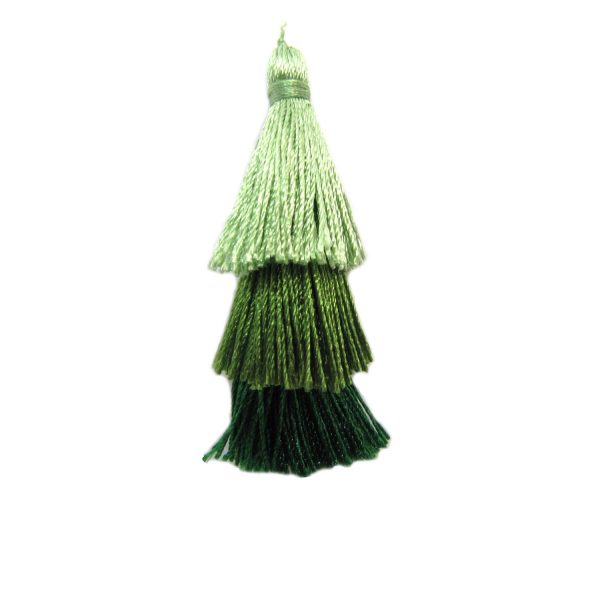 Tiered Green Ombre Small Tassel